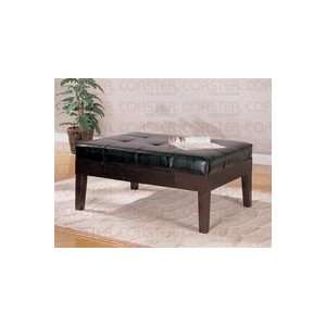Large Coffee Table Ottoman in Black Faux Leather