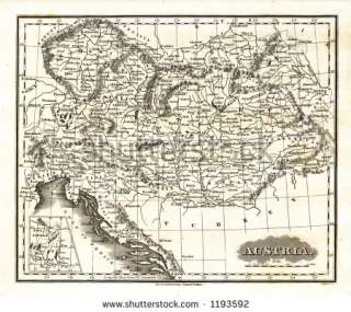 photo  1799 Antique Map of Austria Yugoslavia Bohemia Czechoslovakia