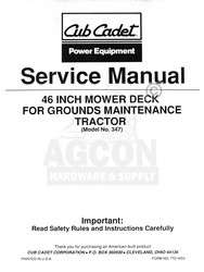 CUB CADET 46 inch Mower Deck Tractor Service Manual 347