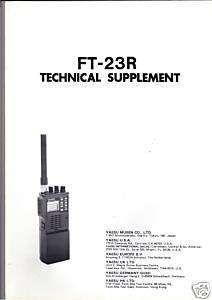 NEW Yaesu FT 23R/FT 23 Technical Supplement Service Manual book in
