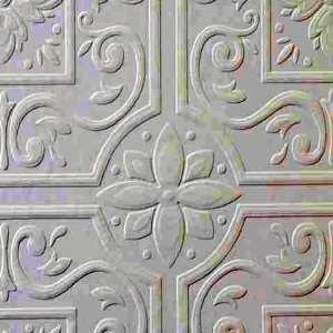 Large Tile Flower Heavy Textured Paintable Wallpaper: Home