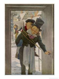 Bob Cratchit with Tiny Tim His Crippled Youngest Son Giclee Print by