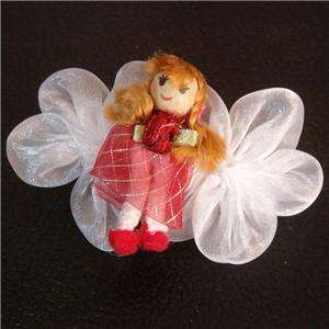 Cute Red Angel Doll Girl Flower Hair Accessory Barrette Clip Free