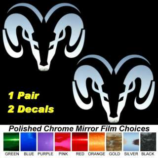 Dodge Ram Head Chrome Film Auto Window Stickers Decals
