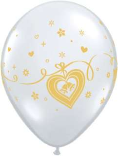 WEDDING BELLS HEARTS 11 BALLOONS GOLD ON CLEAR VALENTINES DAY W/ FREE