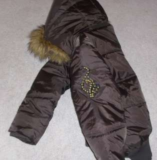 BABY PHAT Chocolate Bomber Coat / Jacket w/ Faux Fur Hood sz S