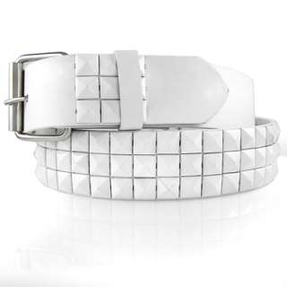 NEW MEN OR WOMEN WHITE LEATHER STUDDED BELT WITH BUCKLE