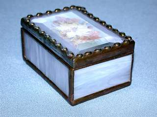 is for a Lovely Antique Slag Glass & Copper Hinged Trinket Box