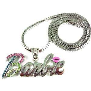 NEW NICKI MINAJ BARBIE Pendant Charm W/Chain Silver Multi Jewelry