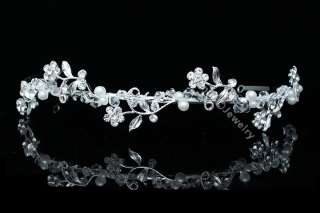Bridal Party Wedding Crystal Pearl Headband Tiara 4469