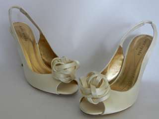 299 Elegant Kate Spade CHRISTA Bridal Shoes US 6 Ivory Satin