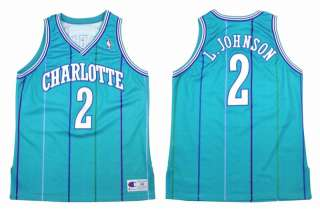 LARRY JOHNSON AUTHENTIC CHARLOTTE HORNETS NBA JERSEY 48