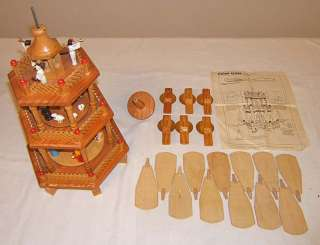 Old Lillian Vernon wooden Christmas candle tower 3 tier carousel