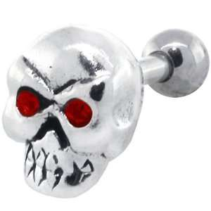 Red Eye Skull Sterling Silver Cartilage Piercing Earring Stud: Jewelry