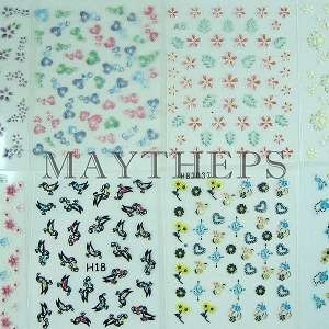 50 Diff 3d Nail Art Design Stickers Sheets Decals LOT