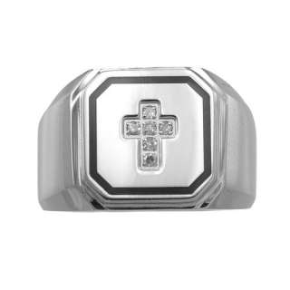 Diamond Accent Stainless Steel with Black Resin Cross Ring Rings