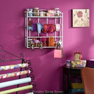 Wall Mount Craft Storage Rack Organizer Shelf W/ Hooks