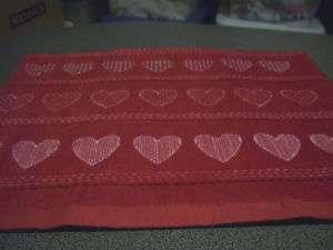 Valentine Red Hearts Stripe Crochet Top Kitchen Towel