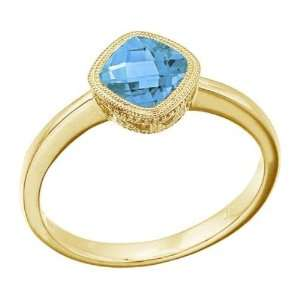 : 14K White Gold December Birthstone Blue Topaz Cushion Ring: Jewelry