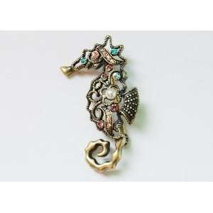 Tone Design Colorful Crystal Rhinestone Seahorse Pin Brooch Jewelry