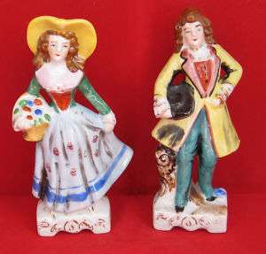 1930s Porcelain Victorian Gentleman & Lady Figurines