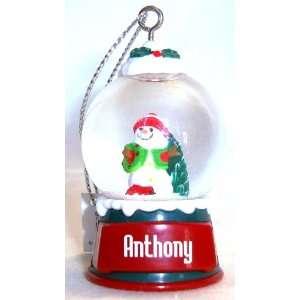 Anthony Christmas Snowman Snow Globe Name Ornament