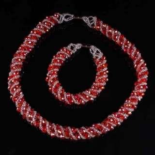 Red Crystal Glass Beads Necklace Bracelet Set