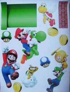 SUPER MARIO Bros Decal Removable Repositionable Children WALL STICKER