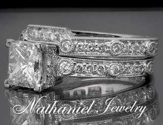 Cut Diamond Bridal Matching Set Engagement Ring Solid Gold 14k