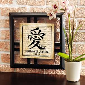 Personalized Chinese Love Symbol Framed Art with Date: Personalized