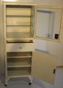 PAINTED STEEL AND GLASS MEDICAL PHARMACY HOSPITAL MEDICAL CABINET