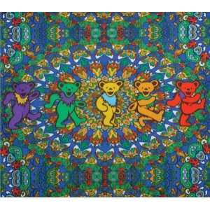 Grateful Dead Kaleidoscope Dancing Bears Fleece Blanket