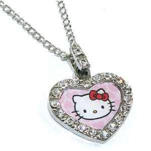 Licensed Sanrio Hello Kitty Pink Heart Charm Necklace with