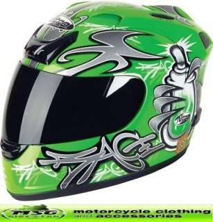 Nitro N250 VX Motorcycle Crash Helmet Green Large New
