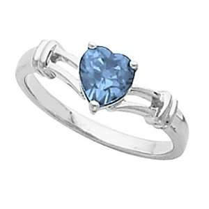 14K White Gold Heart Shaped London Blue Topaz Ring Jewelry