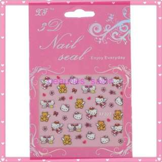 HelloKitty Lovely Sticker Easy Fast Glitter Nail Art Decoration #328
