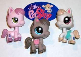 PONY/HORSE LOT~#1331 1776 1777 Pink Cream Brown~Littlest Pet Shop Z42