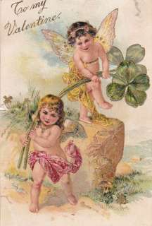 Valentines Day German Angels clovers 1900s postcard