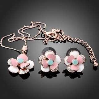 ARINNA flower lovely necklace earrings Set pink rose Gold GP Swarovski