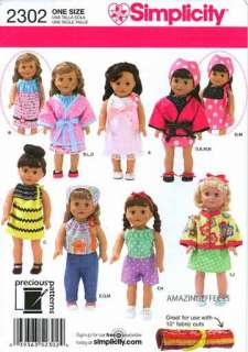 Simplicity Pattern 2302 18 Doll clothes American Girl dress top pants