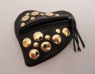 BN Sonia Rykiel Black Leather Heart Shaped Coin Purse Small Wallet