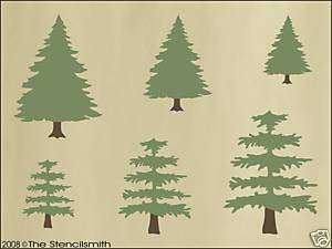 335 STENCIL Pine Trees country christmas cabin rustic