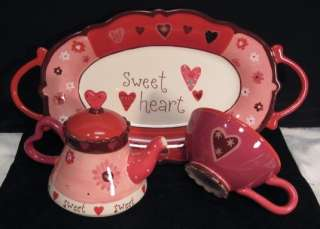 ~VALENTINES DAY~SWEET HEART~TEAPOT~COFFEE TEA CUP~SERVING TRAY