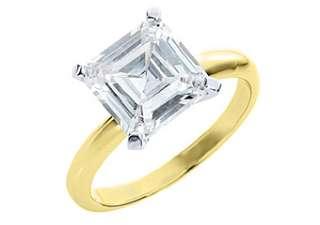 SOLITAIRE ASSCHER SHAPE CUT DIAMOND ENGAGEMENT RING YELLOW GOLD